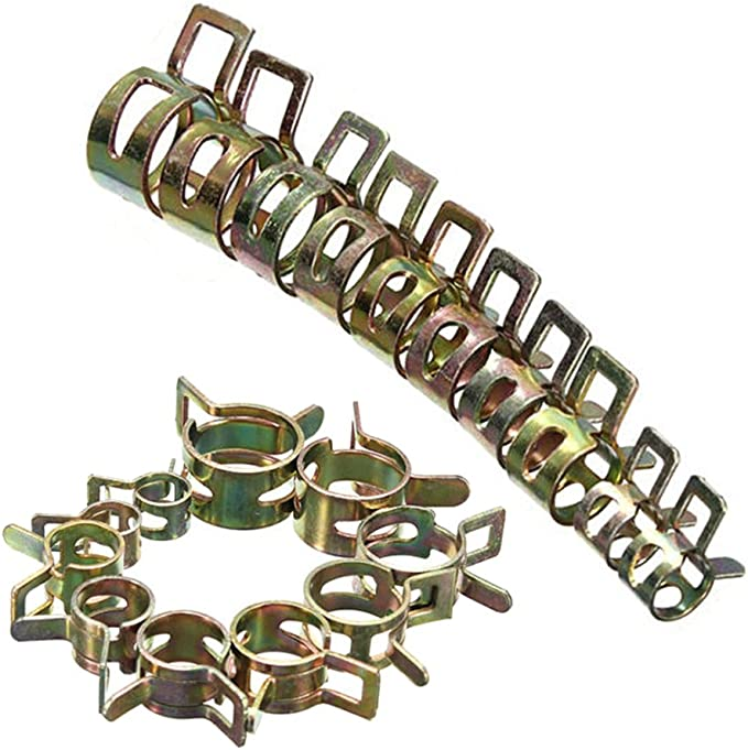 "50Pack 8mm 5//16/"" Spring Clips Clamp Vacuum Fuel Oil Air Hose Line Band Clamp Kit"