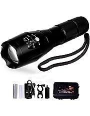 Lampe Torche de Poche LED Rechargeable et Etanche avec Zoom Réglable (Torche noir)