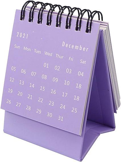 Calendario 2021 Viola NUOBESTY 1Pc 2021 Calendario Tinta Unita Mini Calendario