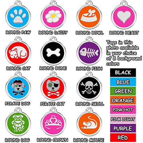 Pet Tag Stainless Steel (Stainless Steel with Enamel Round Pet ID Tags Various Designs and Colors)