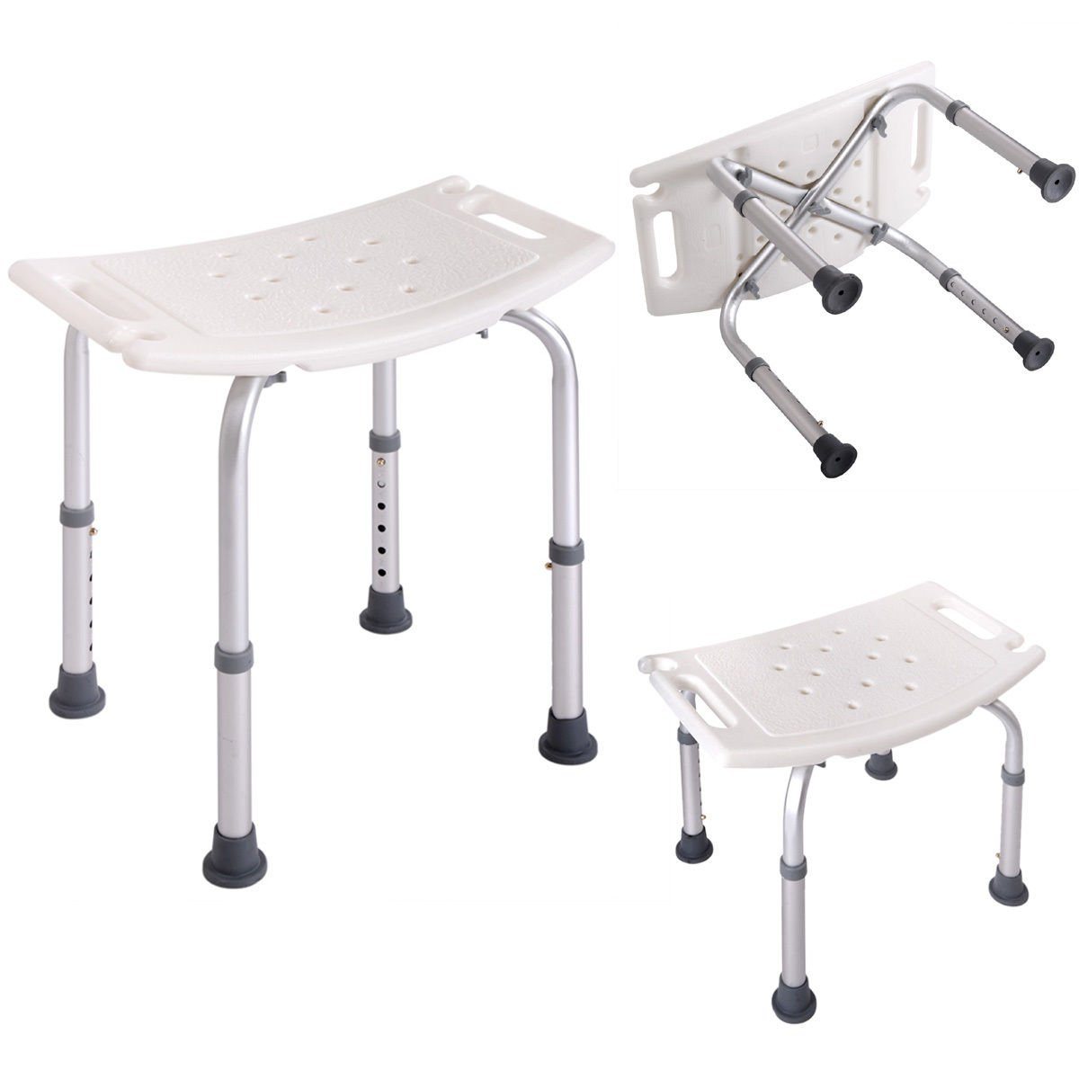 Bath Shower Chair Adjustable Medical 6 Height Bench Bathtub Stool Seat White RECTANGLE