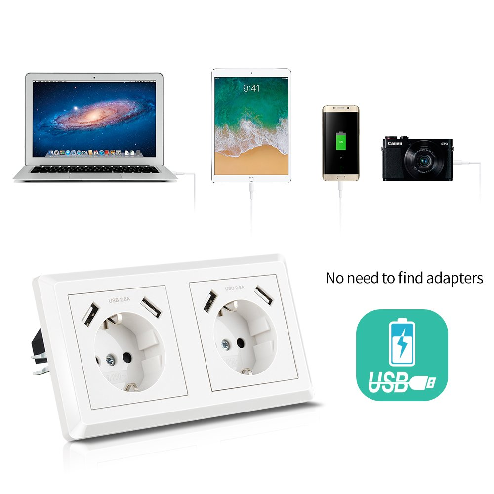 Ladeger/ät f/ür Smartphone Tablet MP3 Kaifire Schuko USB Steckdose System 55x55mm wandsteckdose unterputz Passt in Standard 2-fach Unterputzdose Doppelsteckdose mit 4 USB Reinwei/ß