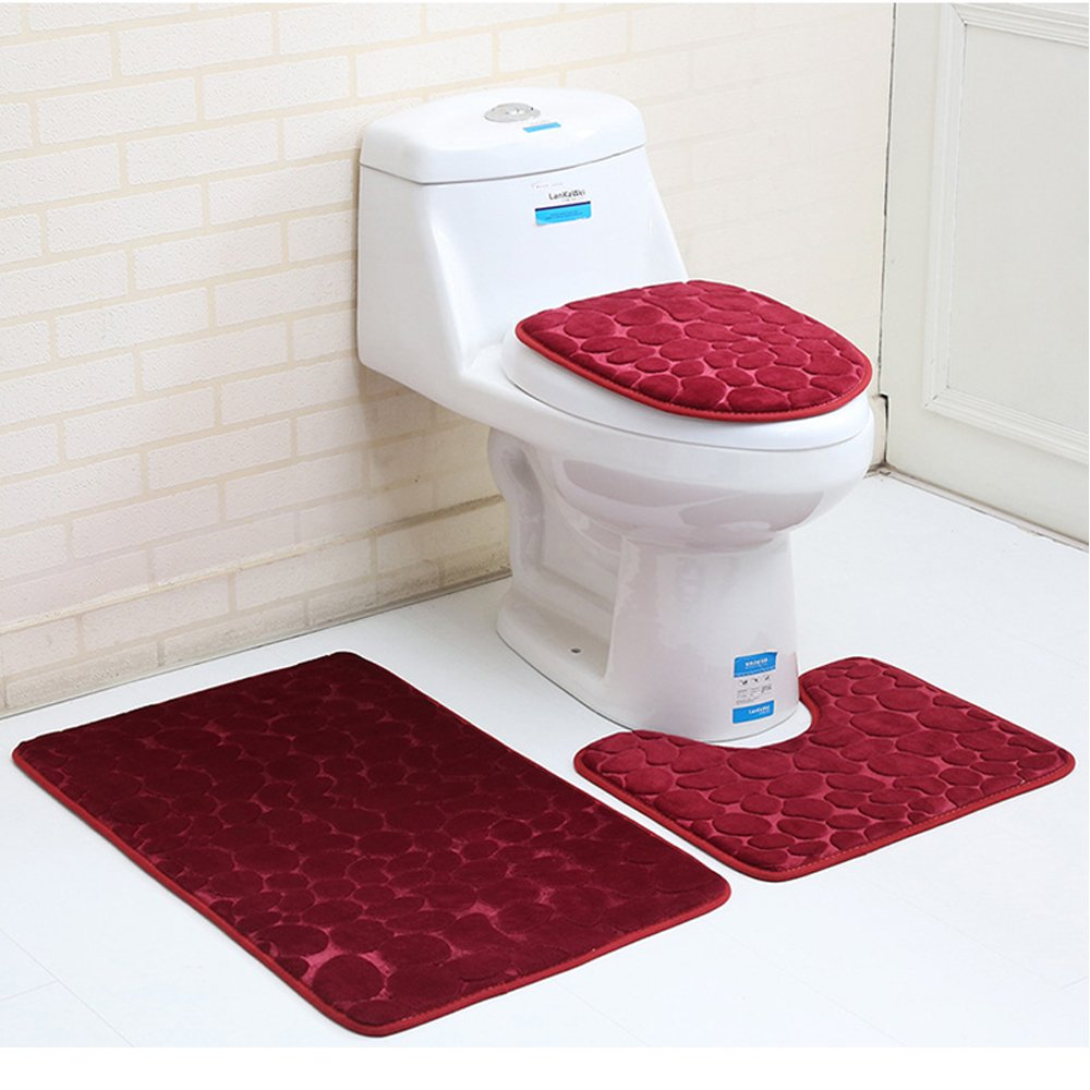 Aisaving 3pcs Non Slip Bath Mat Set Super Soft Pedestal and Bath Rug Memory Foam Pebble Shower Mat Quick Drying Bathroom Mat Carpet,U-Shaped Contour Mat and Toilet Seat Cover (Red)