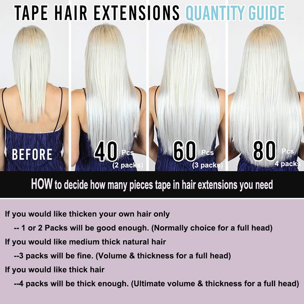 SHOWJARLLY Seamless Remy Tape in Hair Extensions Real Human Hair 22inch Straight #27 Strawberry Blonde Tape on Skin Weft Hair Extensions (50g,20Pcs) by SHOWJARLLY