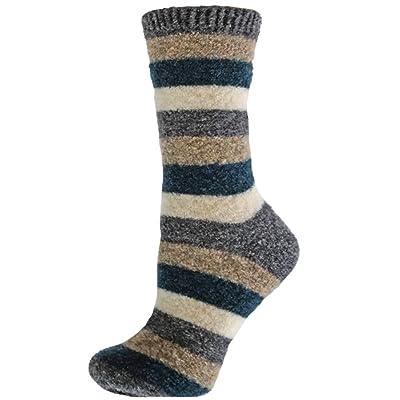 B.ella Women's Lexy Extra Fine Merino Wool Multi-Stripe Crew Socks, Dark Grey Heather, Medium