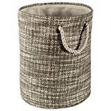 DII Woven Paper Basket or Bin, Collapsible & Convenient Home Organization Solution for Bedroom, Bathroom, Dorm or Laundry (Small Round - 14x12) - Gray Tweed