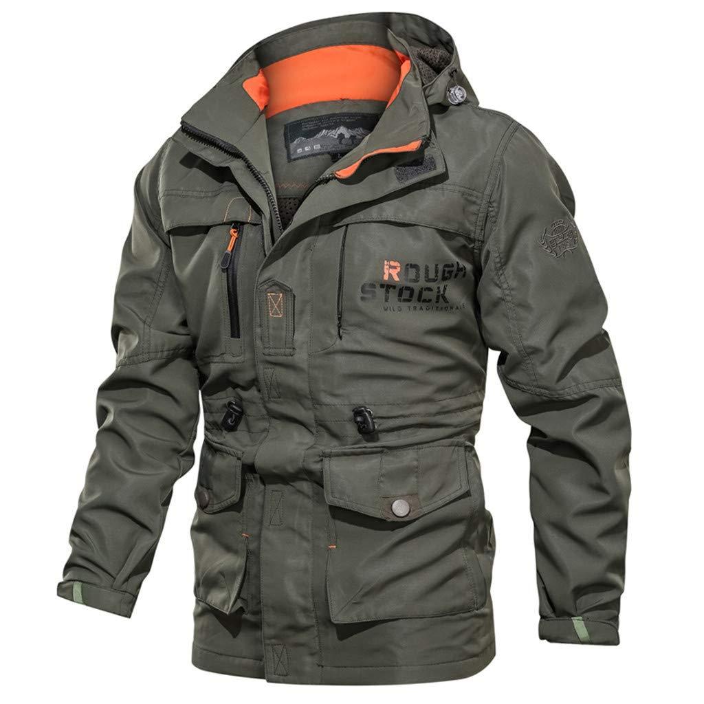 Sagton Men's Long Sleeve Hooded Zipper Outdoor Waterproof Jacket Army Green XL by Sagton-Men Coat