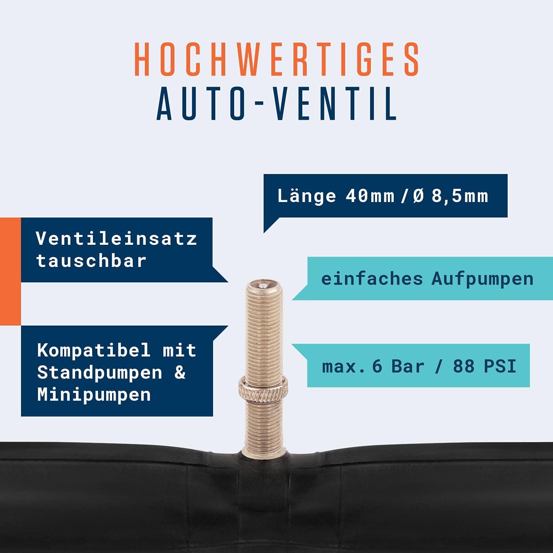 Maxxis Conti Michelin /& Kenda Schwalbe Alphatrail Chambre /à Air V/élo Rick 20 Pouces AV Schrader Valve 2X Ensembles avec Mobilit/é Garantie I Compatible Pneu V/élo Compatible Continental
