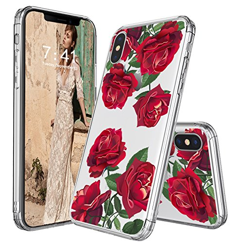Red Roses Iphone - MOSNOVO Case for iPhone XS/iPhone X, Red Roses Floral Flower Pattern Clear Design Printed Plastic Back Case with TPU Bumper Protective Case Cover for Apple iPhone X/iPhone XS
