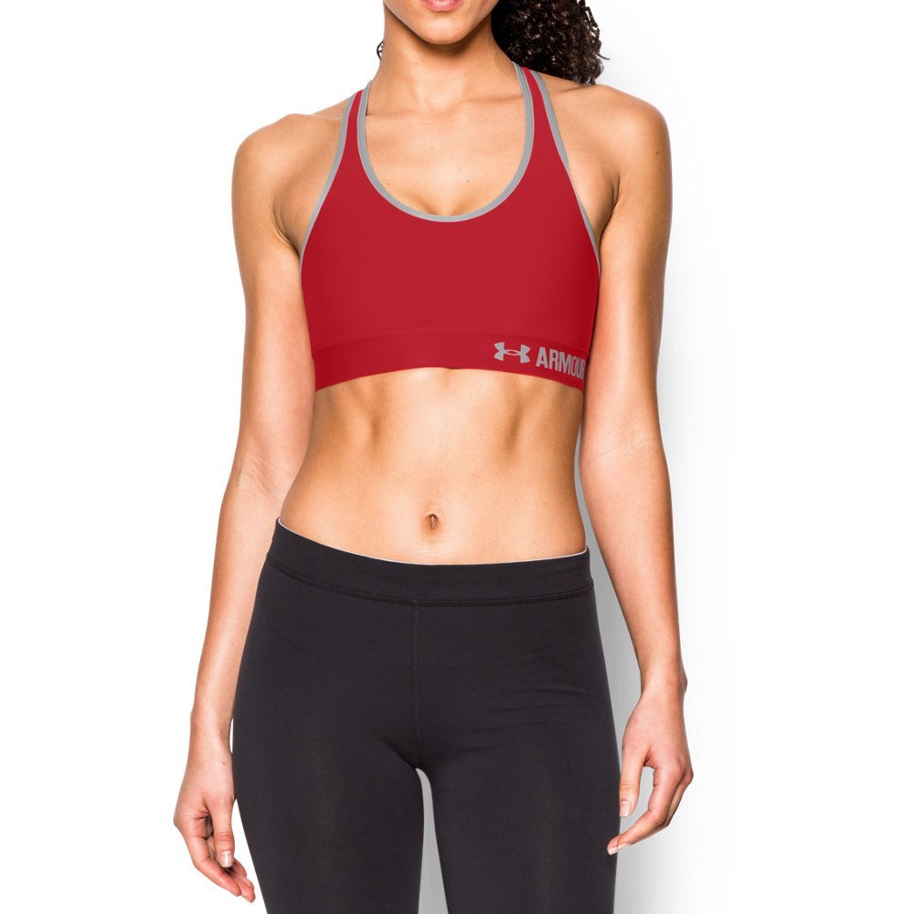 Under Armour Women's Armour Mid Sports Bra, Red/Aluminum, Large by Under Armour (Image #1)