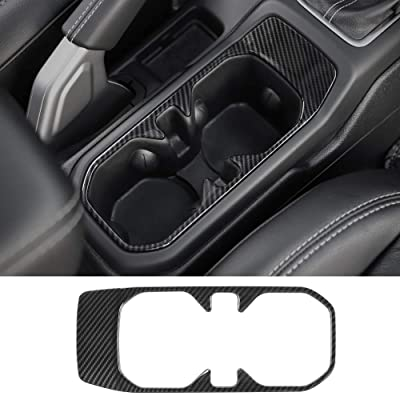 CheroCar ABS Car Interior Accessories Cup Holder Cover Frame Trim Decor for Jeep wangler JL 2020-2020(Carbon Fiber Grain): Automotive