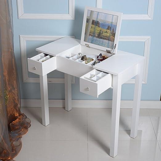 Lcukywing - Mesa tocador de maquillaje/escritorio; mesa con espejo ...