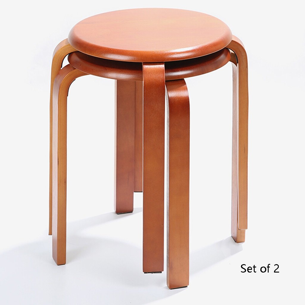 Classic Wood Stool, Living Room Stool Dining Chair Sofa Stool Bench Changing His Shoes Stool Dressing Stool Curved Wooden Bench-Set of 2