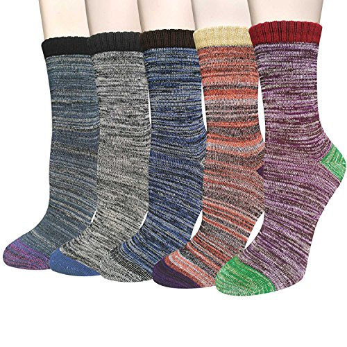 Pack of 5 Womens Cotton Comfort Casual Crew Socks (Comfort Socks Crew)