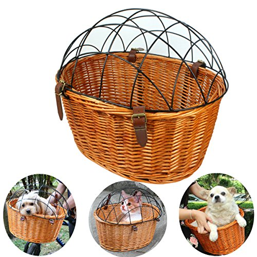 AORYVIC Rural Style Wicker Basket Bicycle Front Pet Cat Dog Carrier Cage Ecological Willow Cage Hanging Basket Capacity 20lbs 13' Food Cover
