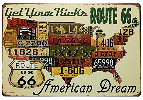 ERLOOD Route Us Road 66 License - Retro Vintage Tin Sign