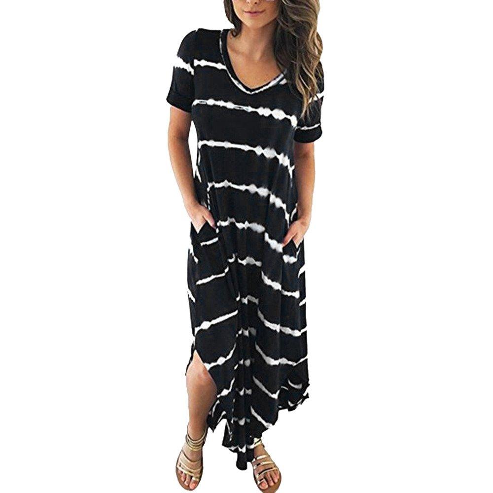 JESPER Women's Casual Chiffon Striped Short Sleeved Pocket Split Irregular Hem Long Beach Dress Black