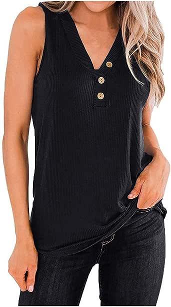 BIKETAFUWY Ladies Sleeveless Tank Tops Women's V Neck Tunic Shirts Casual Stitching Top Blouses Button Up Casual Shirt Black