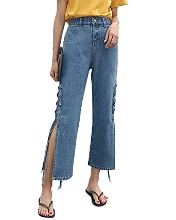 09fa1fcb1a0 Quge Womens Ladies Loose Stretch High Rise Jeans Comfy Lace up Denim  Trousers  Amazon.co.uk  Clothing