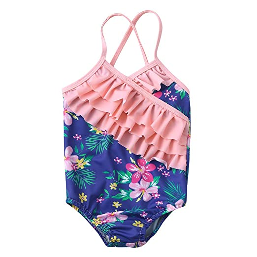 a9d2ccd3a9c Amazon.com: TiTCool Girls One Piece Swimsuits Hawaiian Ruffle Swimwear  Beach Bathing Suit: Clothing