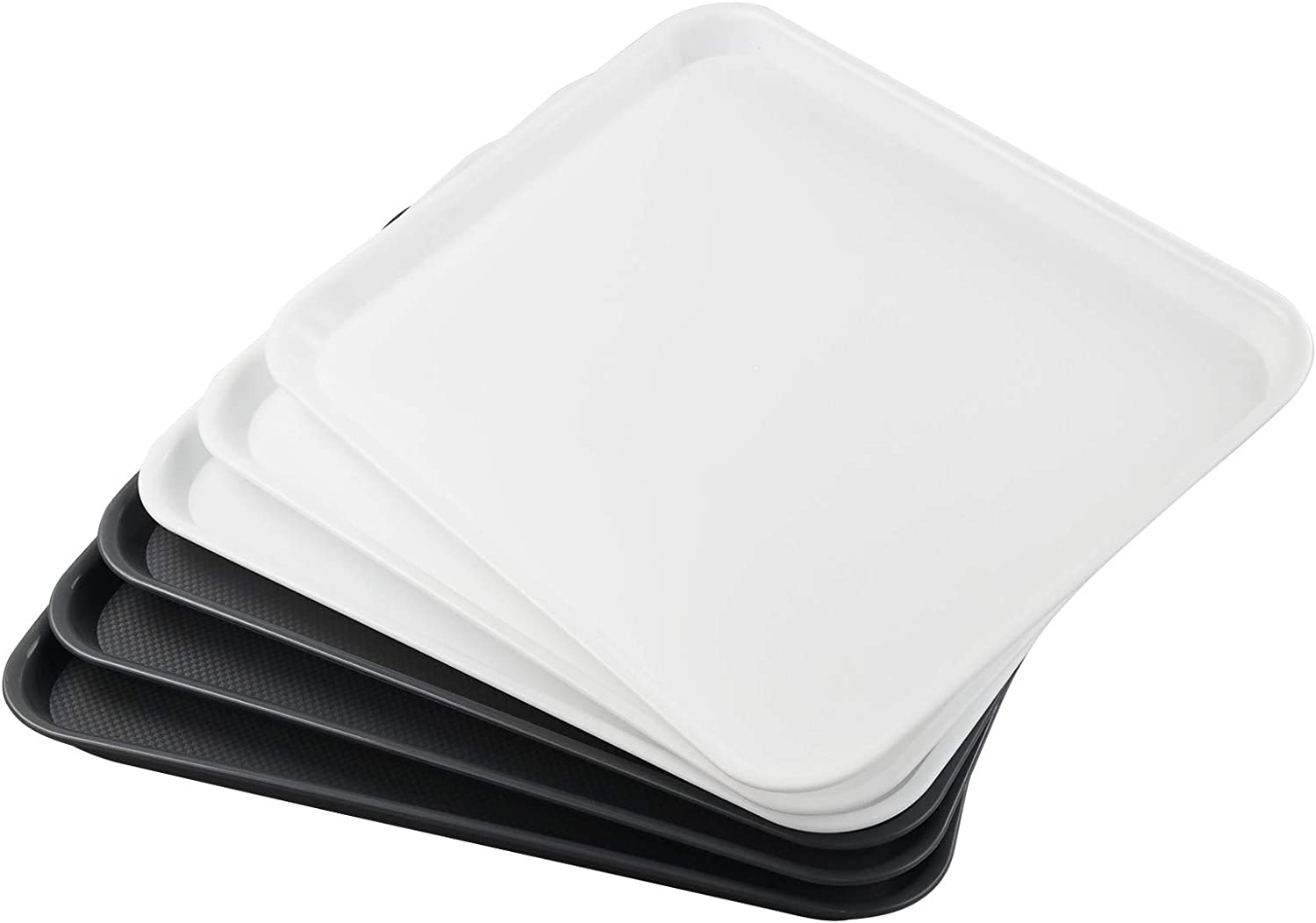 Waikhomes 6 Packs Plastic Food Serving Tray, Kitchen/Restaurant Dinner Serving Tray, White and Grey