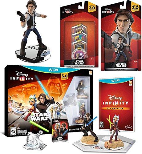 Star Wars Han Solo Infinity Mega Pack Wii U / Twilight of The Republic - Anakin Skywalker and Ahsoka Tano Play Set exclusive Play Piece + 4 Power Discs 3 figures