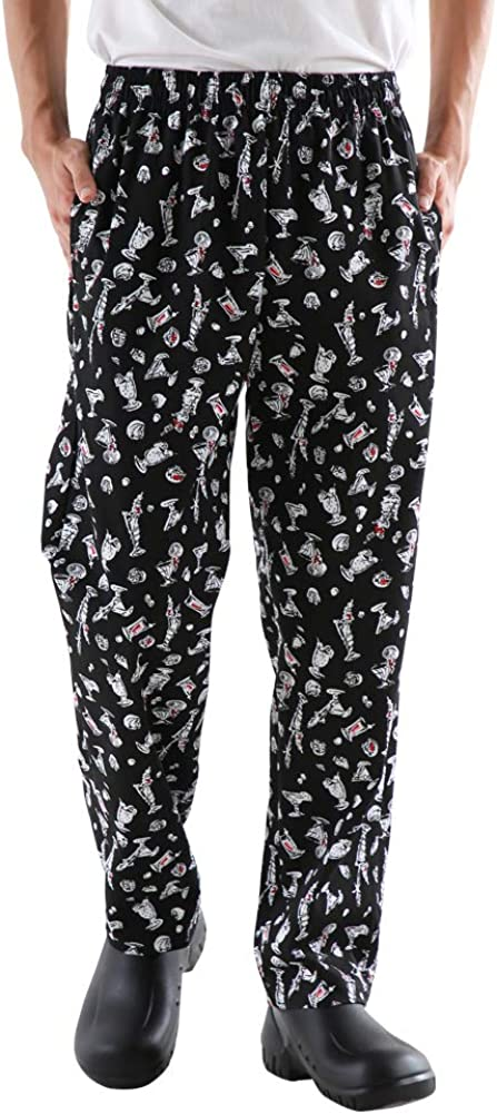 Men's and Women's Baggy Printed Chef Pants Kitchen Uniforms with Elastic Waist Floral Restaurant Work Pants