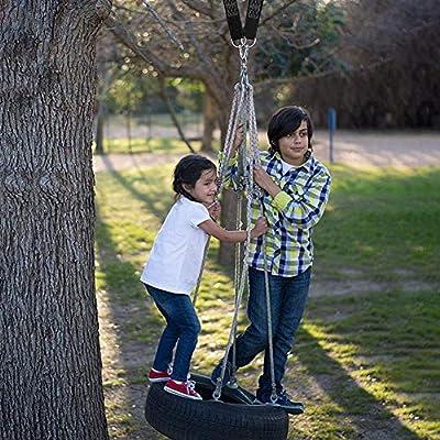 Tree Swing Hanging Kit, Extra Long Adjustable 10 ft Tree Swing Straps + 2 Locking Carabiners + Swivel , Tree Swing Hanger Set for Tire Swings Outdoor Swing Hangers & Hammock Chair Straps Rope (Black): Toys & Games