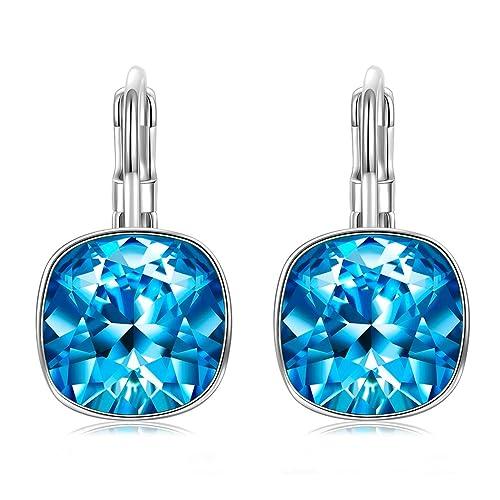 86094a163689 J. RENEÉ  quot Ronda clásica quot  pendientes mujer de aro azules hechas  con cristales