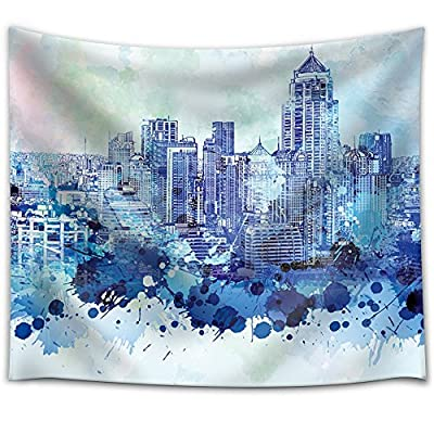 Vibrant Blue Splattered Paint on The City of Bangkok in Thailand - Fabric Tapestry, Home Decor - 51x60 inches