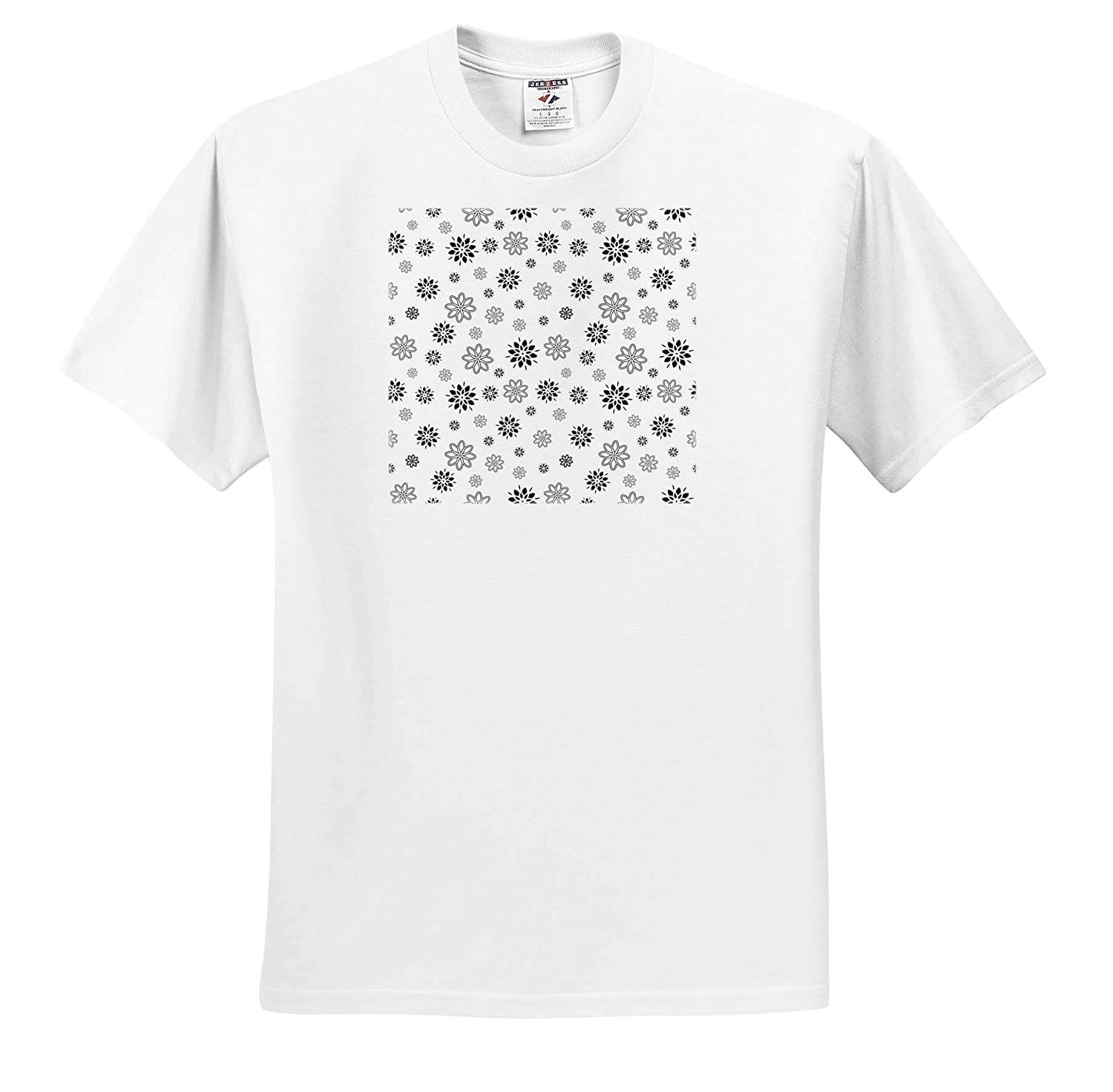 Pattern Christmas New Year Pattern of Black Grey Decorative Winter Flowers on White 3dRose Alexis Design T-Shirts