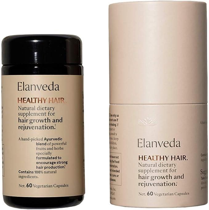 Amazon Com Elanveda Vegan Healthy Hair Growth Vitamins Herbal Ayurvedic 1 Month Supply 60 Capsules Health Personal Care