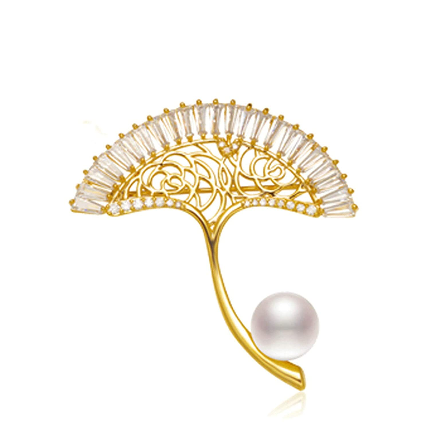 Epinki Jewelry Platinum Plated Brooches for Women Pearl Brooches Anniversary Birthday Wedding