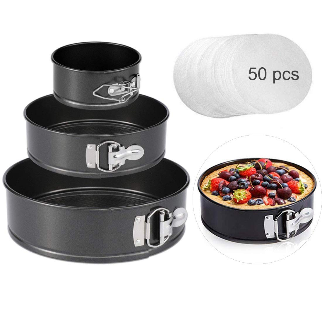 Springform Cake Pan set, 4''/7''/9'' Non-stick Cheesecake Pan, Leakproof Round Cake Pan,Removable Bottom Quick Release Latch moulds for birthday cake,3 PCS,Gift free 50 Pcs Cake Paper