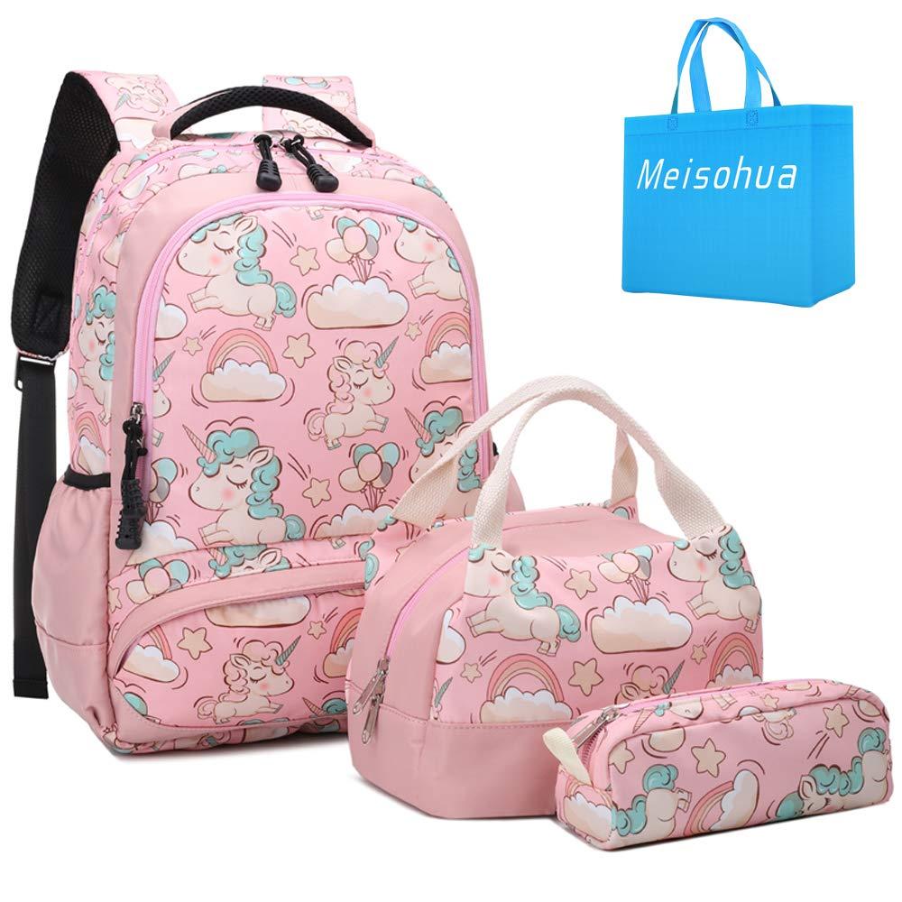 Meisohua School Backpacks Set Girls Unicorn Backpack with Lunch Bag and Pencil Case Kids 3 in 1 Bookbags Set School Bag for Elementary Preschool Water Resistant (Pink) by Meisohua