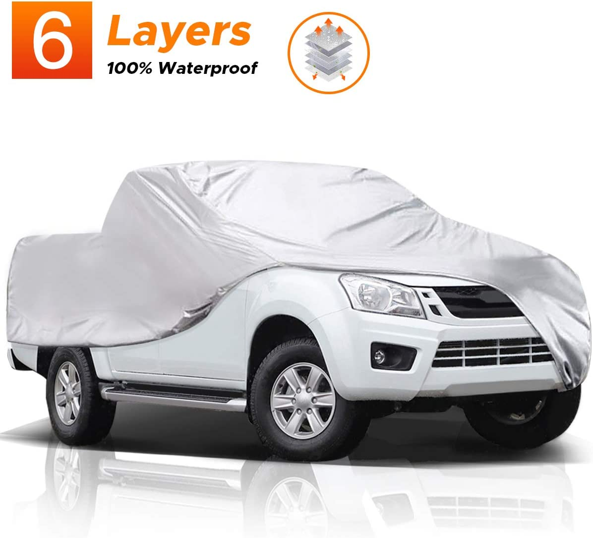 Audew 6 Layers Truck Cover, All Weather Car Cover for Pickup Truck, Snowproof Waterproof Windproof Dustproof UV Protection Universal Car Covers for Truck, Fits up to 246''