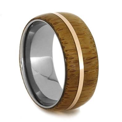 Amazon Com Bamboo 14k Rose Gold Pinstripe 9mm Comfort Fit Titanium