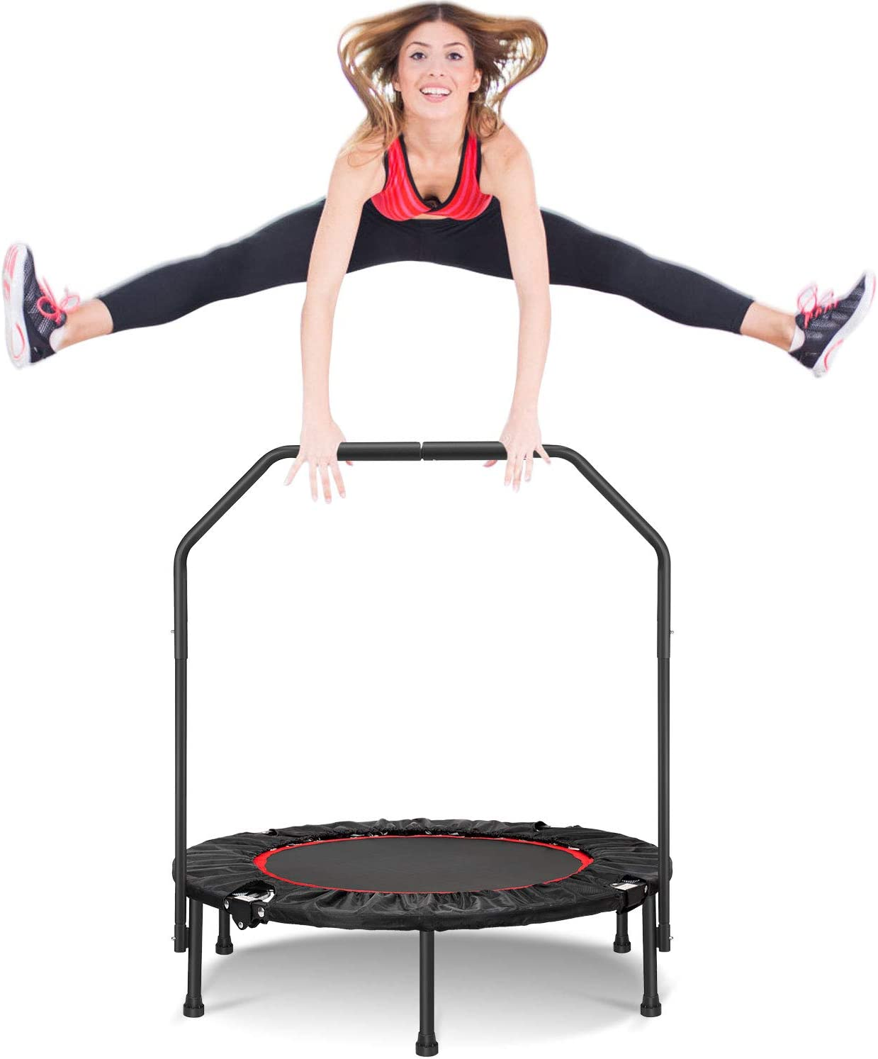 Fitness Rebounder Trampoline for Kids Adults Indoor Outdoor Jumping Exercise Workout Stable Quiet Wolfyok 38 Inch Foldable Mini Trampoline with Adjustable Handle and Safety Pad Max 250 Lbs Black