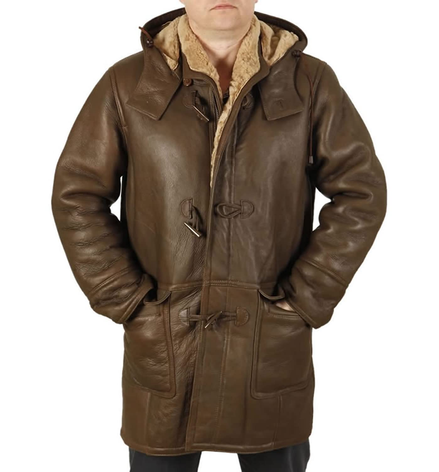 Simons Leather Men's Aviator Sheepskin Duffle Coat at Amazon Men's