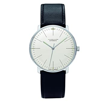 Junghans Max Bill Automatic Mens Watch 38mm Analog White Face Classic Watch With Luminous Hands Stainless Steel Black Leather Band Luxury Watch