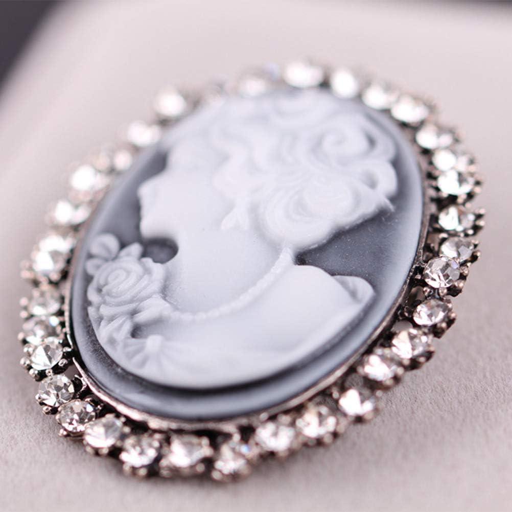 TENDYCOCO Cameo Broschen Vintage Kristall Brosche f/ür Frauen M/ädchen Silber