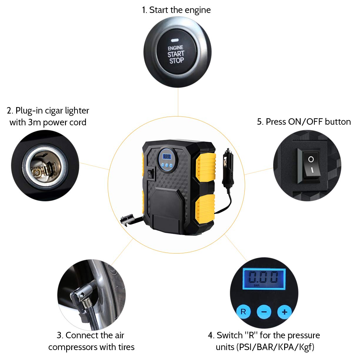 RV SUV ANFAHR Car Tyre Inflator Bicycle and Other Inflatables 12V 150PSI 60L//Min Airflow for Car Portable Dual Cylinder Air Compressor Metal Pump Heavy Duty Pressure Gauge Truck