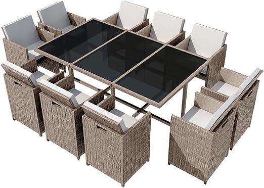 Festnight Set de Comedor Muebles de Ratán para Jardín Gris 31 Piezas: Amazon.es: Jardín