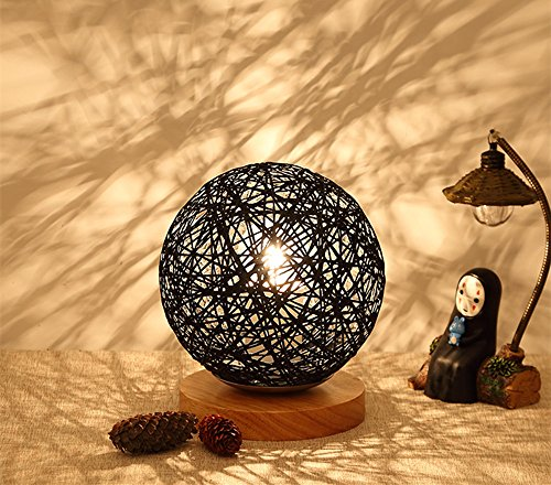 Painted Rattan Table (BOKT Minimalist Solid Wood Table Lamp Bedside Desk Lamp Colourful Home Decor Rattan Ball Round Lampshade (Black))