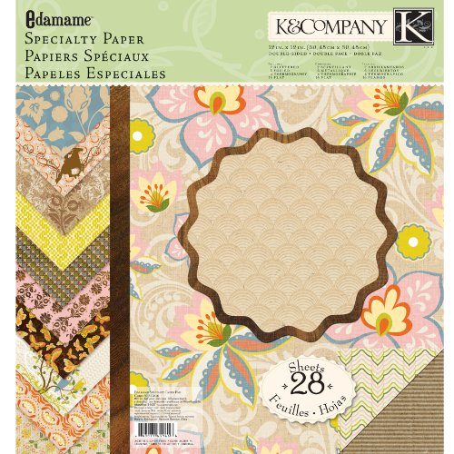 EK Success K and Company Edamame 12-Inch by 12-Inch Specialty Paper - K Inch & 12 Company Paper