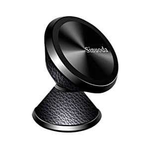 Magnetic Phone Car Mount Holder, Universal 360 Rotation Magnetic Car Phone Holder Stand, Metal Mobile Phone Holder For Car Dashboard Mount for iPhone, Samsung, Android Smartphones, GPS (Leather Black)