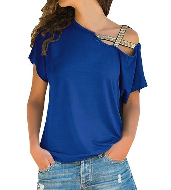 Verano Mujeres Tops Casual Manga Corta Camisas Blusa Moda Chic Oblicuo Hombro Vendaje tee Camisetas Remata: Amazon.es: Ropa y accesorios