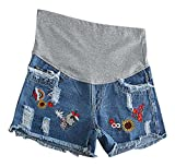 Hibukk Blue Raw Hem Ripped Embroidery Detail Full Panel Maternity Denim Shorts, CiXiuJean 2,Manufacturer(M)