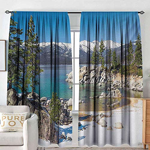 Ray Ellis Harbor - Petpany Family Decor Curtains Lake,Circle Lake Harbor Surrounded by Snowy Mountain Countryside Relax Treatment Photo,Green Blue,Blackout Draperies for Bedroom Living Room 84