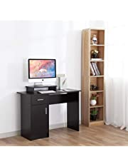 DOSLEEPS Computer Desk, Home Office Writing Desk Wood PC Laptop Gaming Study Workstation with Cabinet and Storage Shelf for Small Space - Free Monitor Stand